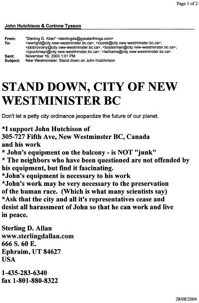 Brian O'Leary Phd former N.A.S.A. astronaut letter of support for John's  balcony.